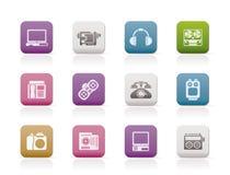 Electrónica, media e iconos técnicos del equipo Imagen de archivo