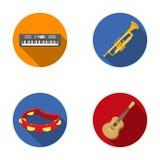 Electro орган, труба, тамбурин, гитара строки Музыкальные инструменты установили значки собрания в плоском символе вектора стиля бесплатная иллюстрация