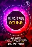 Electro ядровый плакат музыки партии Музыка электронного клуба глубокая Музыкальный звук транса диско события Приглашение партии  иллюстрация вектора