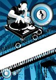 Electro Beats. A DJ spinning tunes with speakers in the background royalty free illustration
