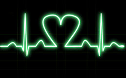 Electro cardiogram. Image of a green electro cardiogram with an hearth Royalty Free Stock Images