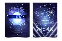 Electro cartel de la música del partido de los sonidos Música profunda del club electrónico Sonido musical del trance del disco d stock de ilustración
