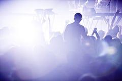 Electro concierto y muchedumbre foto de archivo