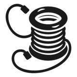 Electro extension coil icon, simple style stock illustration