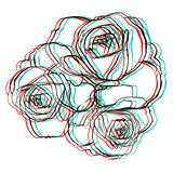 Electro flowers. Illusion. 3d effect royalty free illustration