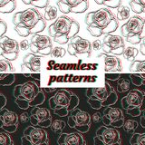 Electro flowers. Seamless patterns. Stock Photography
