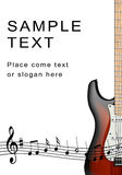 Electro- guitar and musical notes Stock Photography