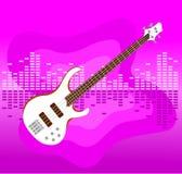 Electro guitarra branca no fundo colorido foto de stock