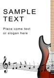 Electro guitarra y notas musicales Fotografía de archivo