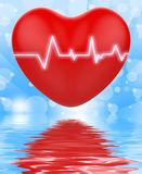 Electro On Heart Displays Passionate Relationship Or Heartbeats. Electro On Heart Displaying Passionate Relationship Or Heartbeats Stock Photography