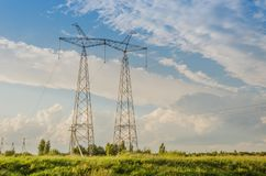 Electro high voltage towers/electro high voltage towers against. The background of the sky stock images