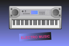 Electro music - electric piano and text. Electric piano on gradient background with the text - electro music. Vector eps format is available Stock Images