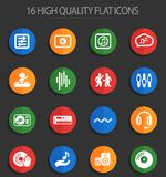Electro music 16 flat icons. Electro music web icons for user interface design Stock Illustration