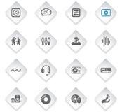 Electro music icon set. Electro music flat rhombus web icons for user interface design stock illustration