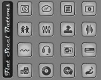 Electro music icon set. Electro music vector web icons on the flat steel buttons stock illustration