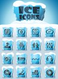 Electro music icon set. Electro music vector icons frozen in transparent blocks of ice royalty free illustration