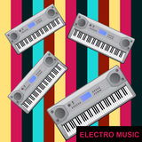 Electro music. Set of piano keys on an abstract background. Electro music. Eps format is available Stock Photo