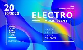 Electro muzycznego wydarzenia plakatowy szablon z kolorowym falistym abstrakcjonistycznym tłem Dla wydarzenia, festiwalu, koncert royalty ilustracja