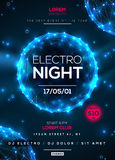 Electro night party poster template. With blue shining polygonal elements on dark background. Vector illustration. Dance party flyer or brochure stock illustration