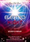 Electro nocy przyjęcia ulotki plakat Futurystyczny świetlicowy ulotka projekta szablon royalty ilustracja