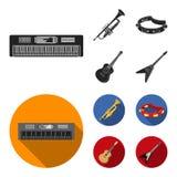 Electro organ, trąbka, tambourine, smyczkowa gitara Instrument muzyczny ustawiać inkasowe ikony w czarnym, mieszkanie stylowy wek ilustracja wektor