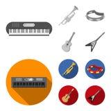 Electro organ, trąbka, tambourine, smyczkowa gitara Instrument muzyczny ustawiać inkasowe ikony w monochromu, mieszkanie styl ilustracja wektor