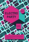 Electro partiaffisch med dj-utrustning på en bakgrund Baner för fest för dansmusik för nattklubb Royaltyfria Foton