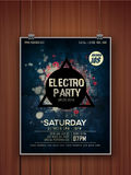 Electro Party celebration flyer or banner. Creative stylish hanging flyer, banner or template on wooden background for Electro Party celebration vector illustration