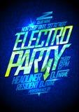 Electro party design. Electro party neon poster design vector illustration