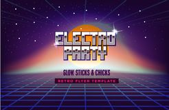 Electro party music poster template. 80s Retro Sci-Fi Background with Sunrise or Sunset. futuristic synth retro wave. Illustration in 1980s posters style Stock Photos