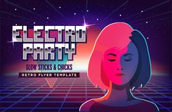 Electro party music poster template. Violet neon fashion girl. 80s Retro Sci-Fi Background with Sunrise or Sunset. Futuristic synth retro wave illustration in Royalty Free Stock Photos