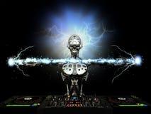 Electro robotdiscjockey Arkivfoton