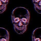 Electro skull. Seamless pattern. Illusion stock illustration