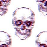 Electro skull. Seamless pattern. Illusion royalty free illustration