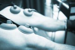 Electro stimulation muscle injury strain pain treatment Royalty Free Stock Photo