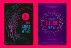 Electro summer wave. Music poster. Club music flyer. Abstract colored waves music background stock illustration