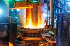 electroarc熔炉冶金工厂 库存照片