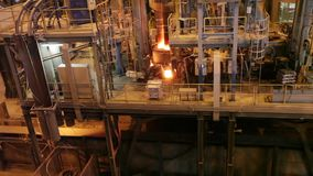 Electroarc furnace at the metallurgical plant stock video