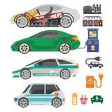 Electrocar eller symboler för lägenhet för vektor för del för mekanism för elbilpassagerarebil stock illustrationer