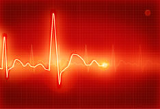 Electrocardiogram. Red Electrocardiogram, computer illustration, background Stock Image
