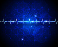 Electrocardiogram blue background. Cardiogram abstract blue wallpaper. Medical background. Beautiful deep blue color and shining stars Royalty Free Stock Photo