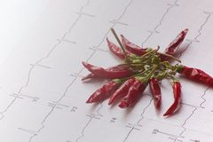 Electrocardiogram with a bunch of dehydrated chillies. ECG evaluation and red chili suggesting the effect of spicy food Royalty Free Stock Image