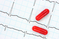 Electrocardiogram and capsules. Two red capsules on electrocardiogram Royalty Free Stock Images