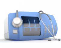 Electrocardiogram device. With stethoscope  - 3D render Stock Images