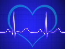 Electrocardiogram, ecg, graph, pulse tracing. On blue Stock Images