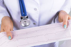 Electrocardiogram, ecg in hand of a female doctor. Medical health care. Clinic cardiology heart rhythm and pulse test closeup. Car Stock Images