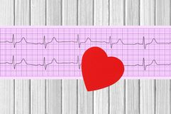 Electrocardiogram graph and heart on wooden Royalty Free Stock Image