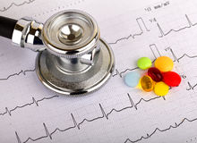 Electrocardiogram. Graph report with stethoscope on it Stock Images