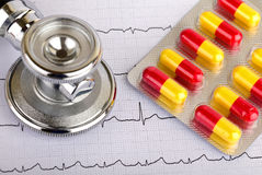 Electrocardiogram. Graph report with stethoscope and pills on it Stock Photography
