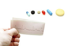 Electrocardiogram in hand different pills Royalty Free Stock Image